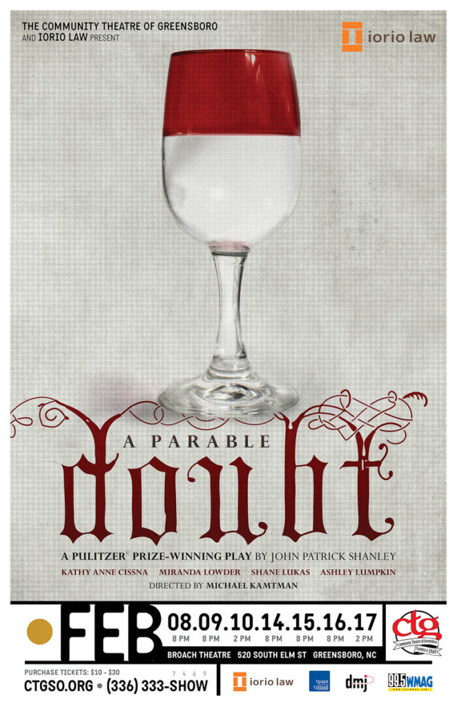 Doubt poster for Community Theatre of Greensboro