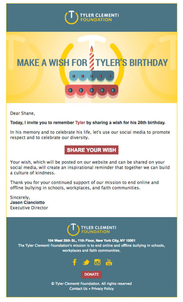 Tyler Clementi Foundation Email Announcement