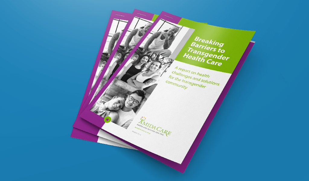 Cover pages of Amida Care's Transgender Health Care report